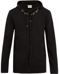 Helmut Lang - Spike-embellished Hooded Cotton Sweatshirt - Lyst