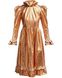 864f2d8be1 Self-Portrait Plunge Neck Prairie Dress With Organza Slip Detail ...