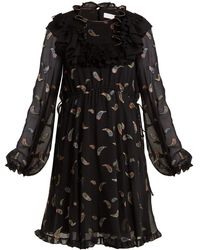 Chloé - Paisley-jacquard Chiffon Dress - Lyst