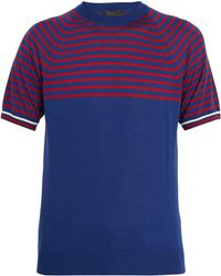 Prada | Striped Cashmere And Wool T-shirt | Lyst