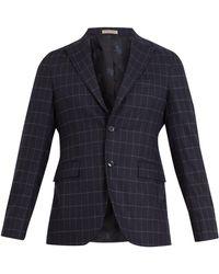 Bottega Veneta - Windowpane-checked Wool-blend Blazer - Lyst