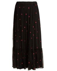 Jupe by Jackie - Fuji Floral-embroidered Silk-chiffon Maxi Skirt - Lyst