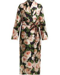 Dolce & Gabbana - Rose Print Single Breasted Silk Coat - Lyst