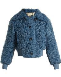 Miu Miu - Buttoned Shearling Bomber Jacket - Lyst