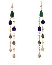 Jacquie Aiche - Emerald, Tourmaline & Diamond Drop Earrings - Lyst