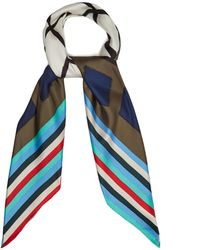 Diane von Furstenberg   Cubic-print Stripe Silk Scarf   Lyst