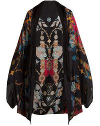 Etro - Printed Cashmere-blend Poncho - Lyst