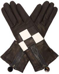 Agnelle - Argi Leather Checkerboard Gloves - Lyst