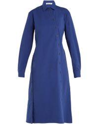 Tomas Maier - Cotton Poplin Asymmetric Button Dress - Lyst