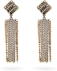 Alessandra Rich - Crystal-embellished Chain Drop Earrings - Lyst