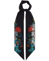 Alexander McQueen - Floral-print Skinny Silk Scarf - Lyst