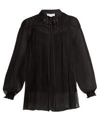 Amanda Wakeley - High-neck Gathered Silk-tulle Top - Lyst