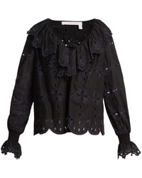 See By Chloé - Geometric Floral-embroidery Cotton Top - Lyst