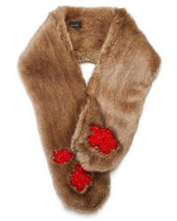 Simone Rocha - Bead-embellished Faux-fur Scarf - Lyst