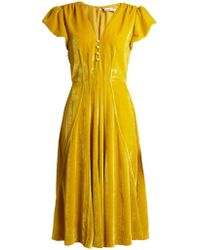 Altuzarra - Camilla V-neck Velvet Midi Dress - Lyst