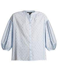 Saloni Woman Cold-shoulder Fil Coupé Cotton-blend Seersucker Top Navy Size 8 Saloni For Sale Sale Wide Range Of Sale For Sale Websites Discount Fashionable bzhCMaAI2