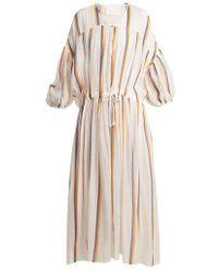 LOVE Binetti - Dropped Shoulder Striped Cotton Dress - Lyst