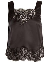 Givenchy - Lace Trimmed Silk Satin Cami Top - Lyst