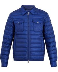 511ba9415b84 Lyst - Moncler Dominique Contrast-trim Quilted Down Jacket in Blue ...