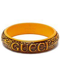 Gucci - - Logo And Snake Carved Resin Bangle - Womens - Yellow - Lyst