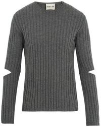 Helmut Lang - Cutout-sleeve Ribbed Wool Sweater - Lyst
