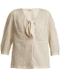 MASSCOB - Striped Knot-front Cotton Top - Lyst