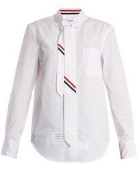 Thom Browne - Tie-neck Striped-detail Cotton-poplin Shirt - Lyst