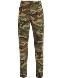 Balenciaga - Camouflage Cotton-canvas Trousers - Lyst