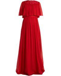 Giambattista Valli - Macramé-lace Tiered Silk-georgette Gown - Lyst