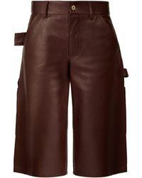 Bottega Veneta Knee Length Leather Shorts - Brown