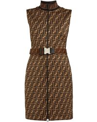 Fendi - Ff Jacquard Cotton Blend Mini Dress - Lyst