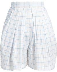 Vika Gazinskaya - Checked Pleated-front Cotton Shorts - Lyst