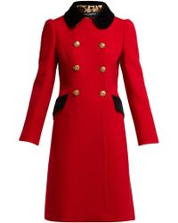 Dolce & Gabbana - Contrast Collar Double Breasted Wool Blend Coat - Lyst