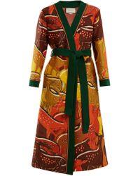 Gucci | Fawn-print Tie-waist Wool-blend Robe | Lyst