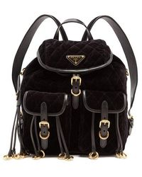 Prada - Leather-trimmed Quilted-velvet Backpack - Lyst