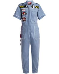 Miu Miu - Badge-appliqué Cotton-blend Jumpsuit - Lyst