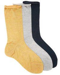 Raey - - Set Of Three Roll Top Silk Socks - Womens - Yellow Multi - Lyst