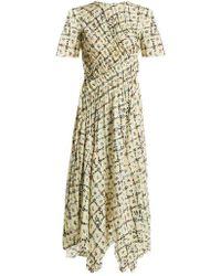 Preen Line - Keziah Floral-print Handkerchief-hem Midi Dress - Lyst