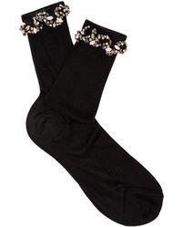 Raey - Embellished Ric-rac Silk Socks - Lyst