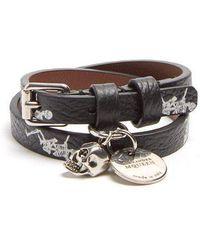 Alexander McQueen - Skeleton-print Double-wrap Leather Bracelet - Lyst