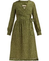Adriana Degreas - Mille Punti Polka Dot Silk Crepe Wrap Dress - Lyst