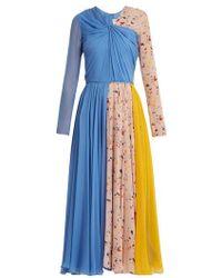 Carolina Herrera - V-neck Terazzo-print Silk Dress - Lyst