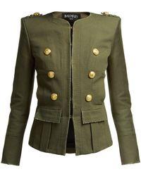 Balmain - Collarless Cropped Jacket - Lyst