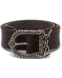 Saint Laurent - Logo Buckle Leather Belt - Lyst