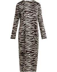 Ganni - Blakely Zebra Print Silk Blend Dress - Lyst