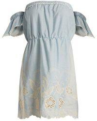 Athena Procopiou - Gypset Off-the-shoulder Cotton Mini Dress - Lyst