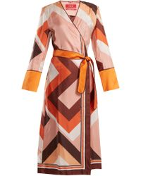 F.R.S For Restless Sleepers - Dolos Geometric-print Silk Wrap Dress - Lyst