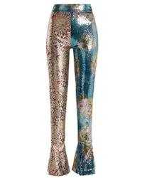 Halpern - - High Rise Sequin Embellished Skinny Trousers - Womens - Blue Multi - Lyst
