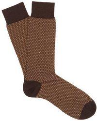 Pantherella - Dalby Diamond-pattern Cotton-blend Socks - Lyst