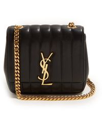 Saint Laurent Sunset Small Leather Shoulder Bag in Black - Lyst ea96d9623a64d
